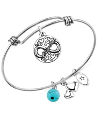 Unwritten Friendship Charm And Manufactured Turquoise 8Mm Adjustable Bangle Bracelet In Stainless Steel Silver