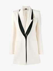 Alexander Mcqueen Wool Silk Blend Tuxedo Jacket Black White