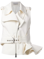Le Bon Marche X The Webster Ruffle Sleeveless Biker Jacket White