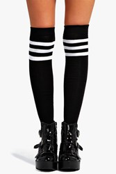 Boohoo Stripe Top Knee High Socks Black