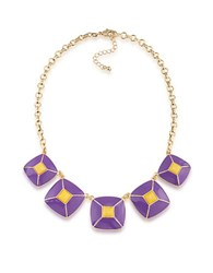 1St And Gorgeous Enamel Pyramid Pendant Statement Necklace In Purple Yellow Gold