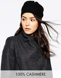Johnstons 100 Cashmere Beanie In Textured Rib Black
