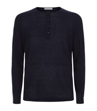 Sandro Long Sleeved Henley Top Male Blue