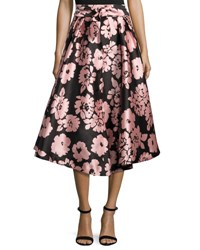 Milly Jackie Floral Print A Line Midi Skirt Light Pink