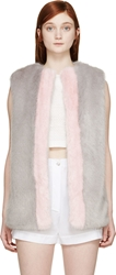 Shrimps Grey And Pink Fur Perry Vest