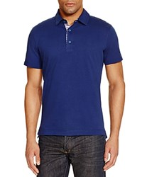 Robert Graham Stoked Stripe Placket Slim Fit Polo Shirt 100 Bloomingdale's Exclusive Navy