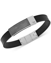 Emporio Armani Men's Stainless Steel Logo Leather Bracelet Egs2072