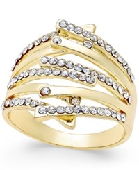 Inc International Concepts Gold Tone Interlocking Crystal Bar Statement Ring Only At Macy's