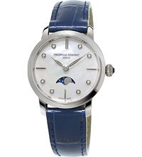 Frederique Constant Fc206mpwd1s6 Slimline Moonphase Stainless Steel And Crococalf Leather Watch