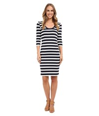 Adrianna Papell Striped Slim Ponte Dress Navy Ivory Women's Dress Blue
