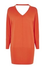 Karen Millen V Neck Tunic Knit Orange