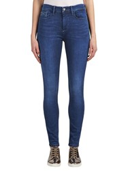 Calvin Klein High Rise Skinny Jeans Crushed Eighties Blue Stretch