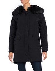 Calvin Klein Long Sleeve Faux Fur Trim Hooded Parka Jacket Black