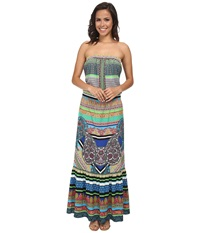 Hale Bob Soft In The City Tube Top Maxi Dress Teal Women's Dress Blue