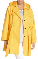 Plus Size Women's Via Spiga 'Scarpa' Single Breasted Trench Coat Citrus