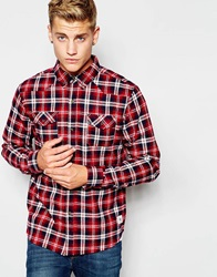Flannel Check Shirt With Button Down Collar Red
