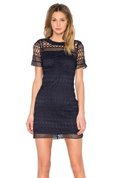 Lucy Paris Embroidered Overlay Dress Navy