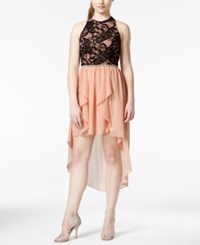 City Triangles City Studios Juniors' Embellished Lace Bodice High Low Party Dress