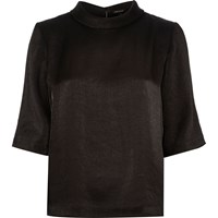 River Island Womens Black Metallic High Neck T Shirt