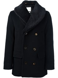 A Kind Of Guise Peaked Lapel Button Peacoat Black
