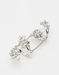 Lipsy Crystal Ornate Statement Ring Silver