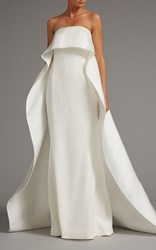 Elizabeth Kennedy Strapless Gown With Overcape White
