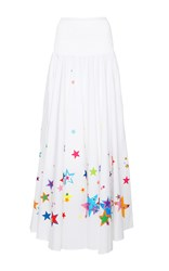 Mira Mikati Star Printed White Circle Skirt White Red Blue