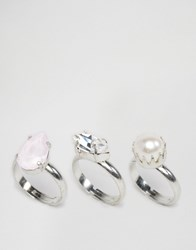 Krystal Swarovski Crystal Set Of 3 Rings Crystal Pink Pearl Silver