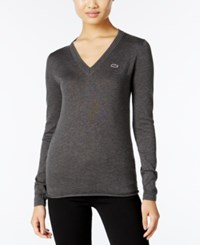 Lacoste V Neck Sweater Scarab Black