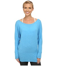 Lucy Yoga Girl L S Bright Blue Heather Women's Long Sleeve Pullover