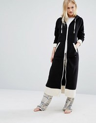 Dkny Dressing Gown With Hood Black And White