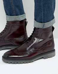 Asos Brogue Boots In Burgundy Leather Burgundy Red