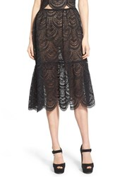 Women's For Love And Lemons Scalloped Lace Midi Skirt