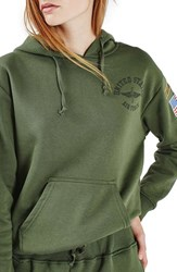 Topshop Women's By Tee And Cake Military Hoodie