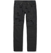 Blackmeans Slim Fit Patchwork Washed Denim Jeans Black