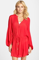 Vix Swimwear 'Paris' Cover Up Tunic Coral Red