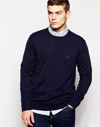 French Connection Cotton Crew Neck Knitted Jumper Navy
