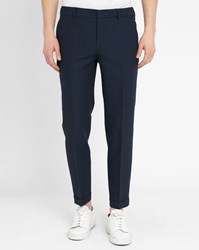 Carven Navy Micro Dots Slim Fit Suit Trousers