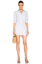 Thakoon Button Front Romper In Blue Stripes Abstract