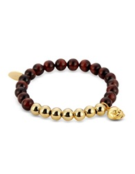 Northskull Red Tiger Eye And Gold Skull Charm Bracelet