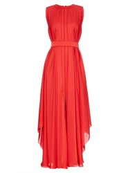Maison Rabih Kayrouz Pleated Silk Charmeuse Gown Red