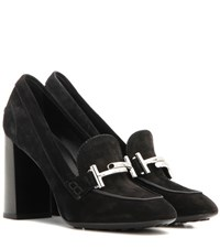 Tod's Loafer Style Suede Pumps Black