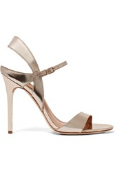 Halston Ainsley Mirrored Leather Sandals Metallic