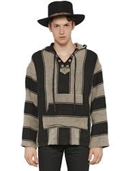 Saint Laurent Striped Linen Baja Hoodie Black Ivory