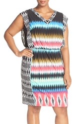 Plus Size Women's London Times Print V Neck Blouson Dress