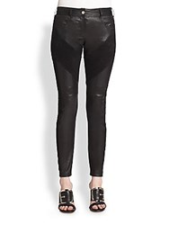 Givenchy Leather And Suede Leggings Black