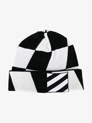 Off White Wool Blend Beanie Hat Black White Off White Off White