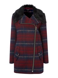 Therapy Check Faux Fur Collar Wool Coat Red
