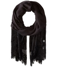 Calvin Klein Lace Edge Scarf Black Scarves