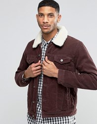 Asos Cord Western Jacket With Borg Collar In Burgundy Burgundy Red